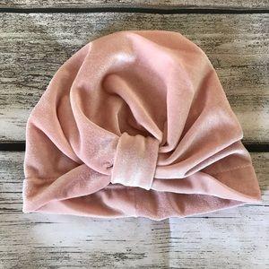 Other - Brand New Velvet Pink Baby Girl Turban Hat 0-24 M